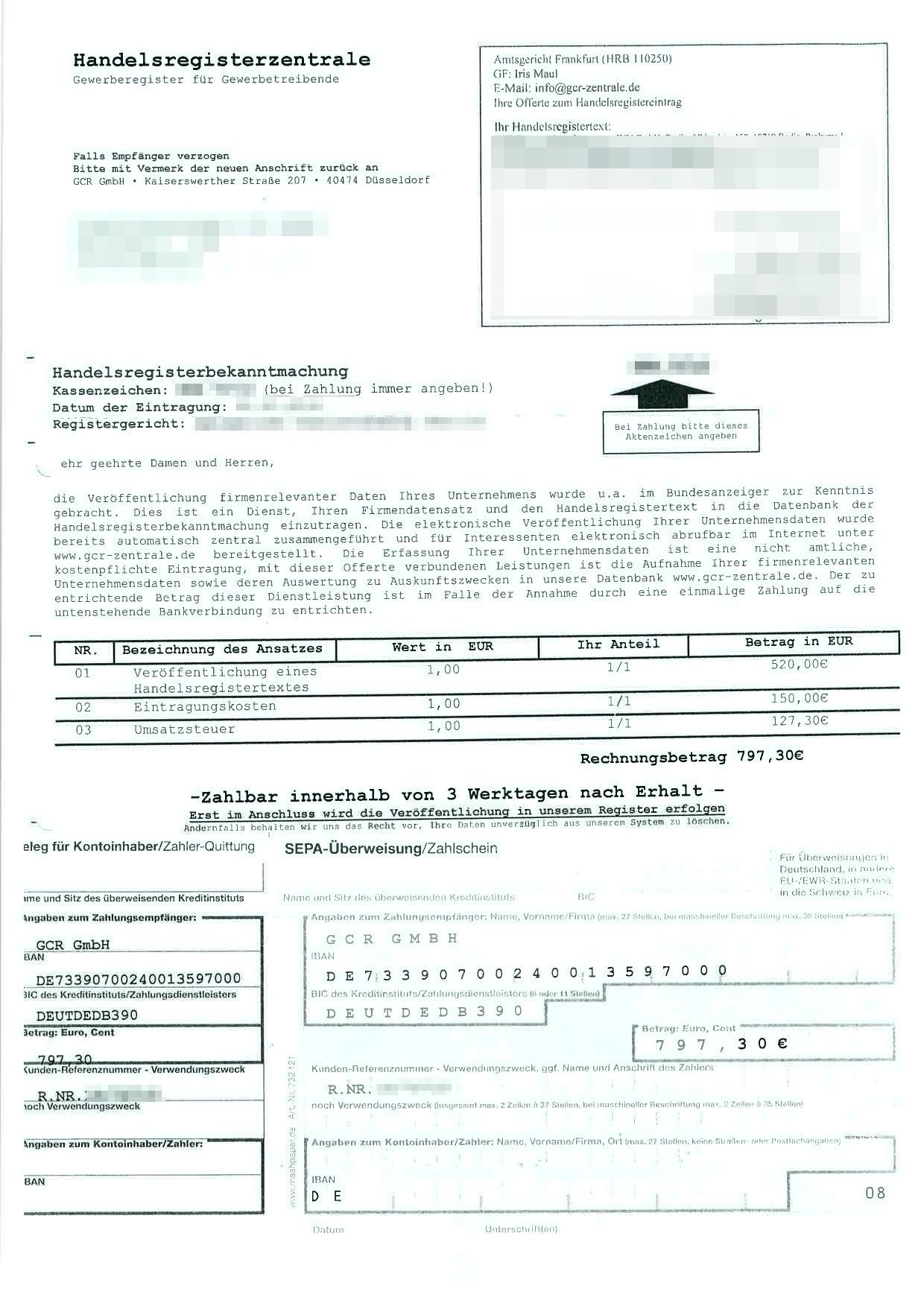 Beispiel für ein Fake Rechnung der GCR Gmbh