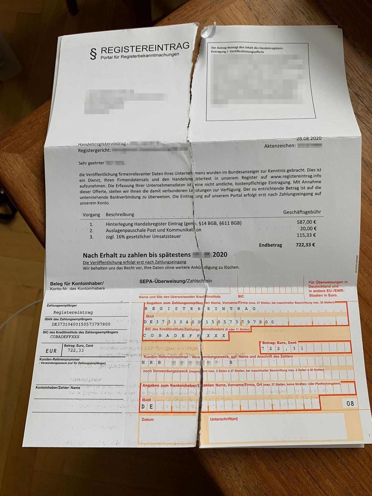 So sieht eine gefälschte Rechnung der Registereintrag.info aus