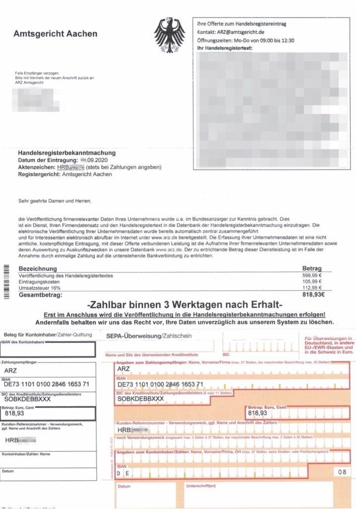 Schummelrechnung angeblich durch das Amtsgericht Aachen