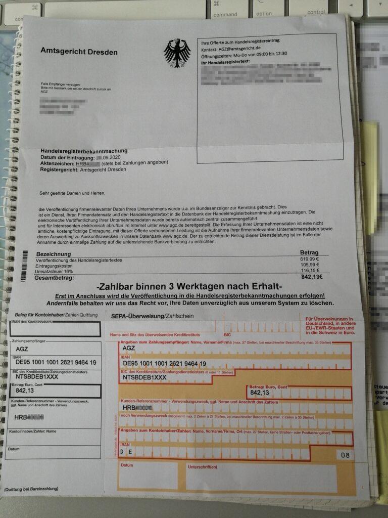 Schummelrechnung angeblich durch das Amtsgericht Dresden