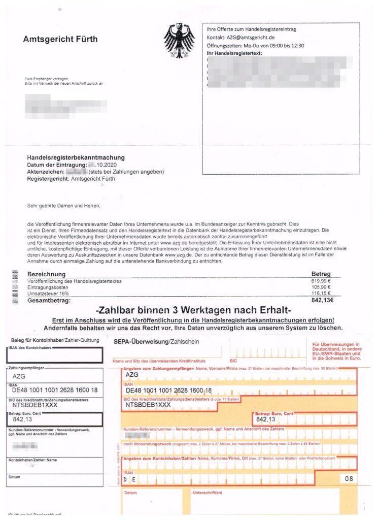 Schummelrechnung durch das  Amtsgericht Fürth