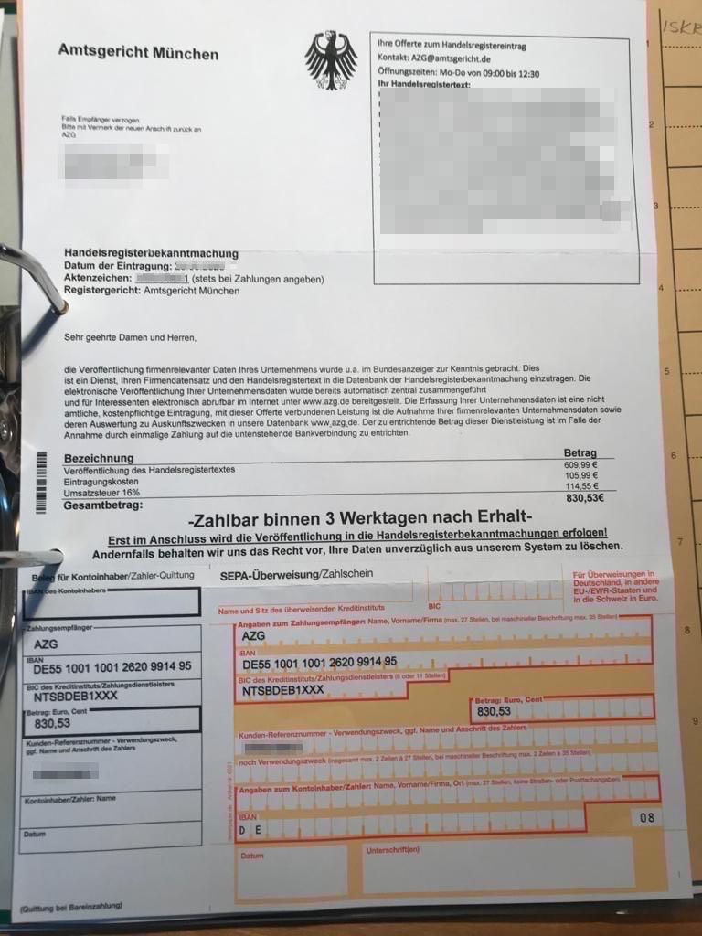 Schummelrechnung angeblich durch das Amtsgericht München