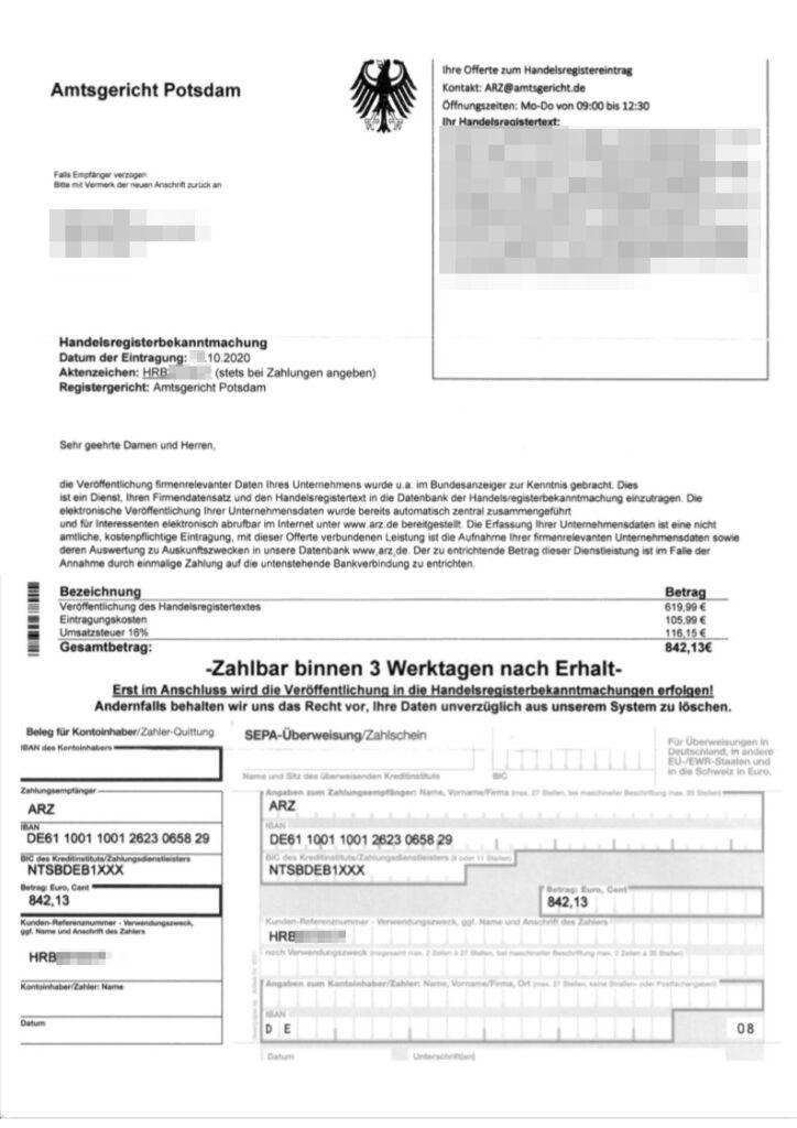 Schummelrechnung angeblich durch das Amtsgericht Potsdame