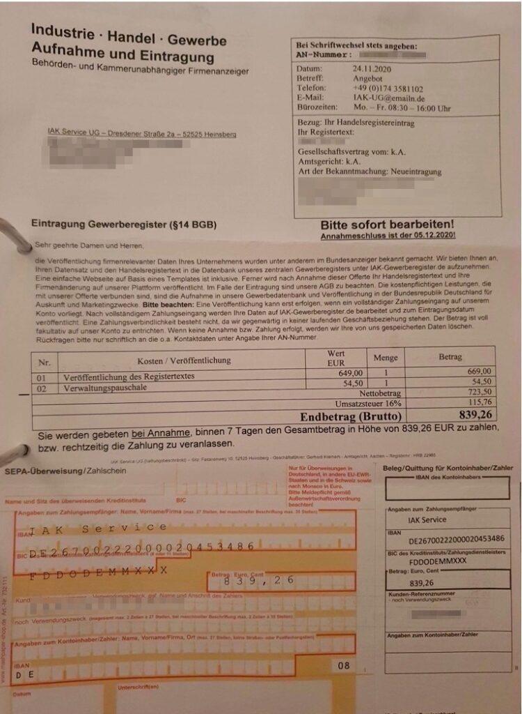 Beispiel für ein Schreiben der IAK aus dem November 2020